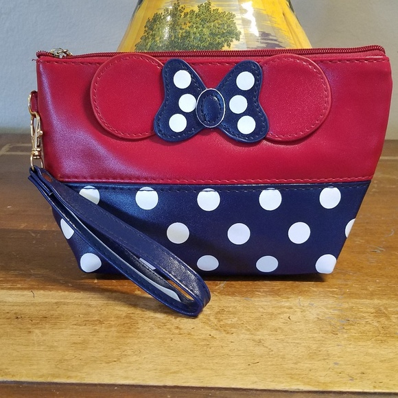 None Handbags - Minnie Mouse Bow Cosmetic Bag Navy and Red